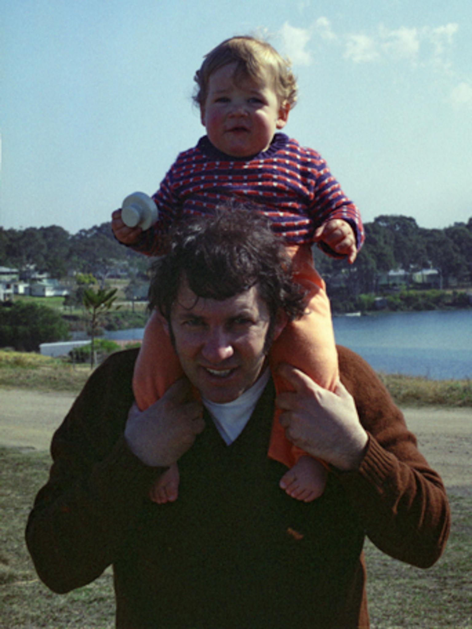 Stuck on dad's shoulders