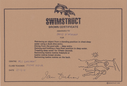 Brown Swimming Certificate