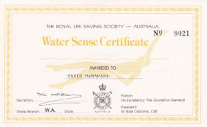 Water sense certificate