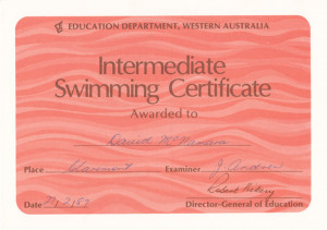 Intermediate Swimming Certificate