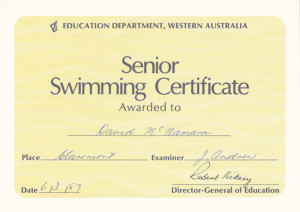Senior Swimming Certificate