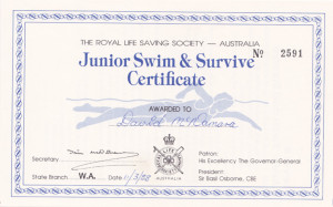 Junior Swim & Survive Certificate