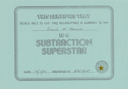 Subtraction Superstar Award