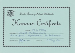 Honour Certificate for Great Improvement in Behaviour