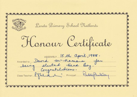 Honour Certificate Elected Head Boy