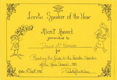 Merit Award for Loreto Speaker of the Year