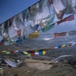 Monastic View Through Prayer Flags of Lhasa