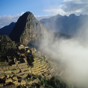 Machu Picchu Through Clouds