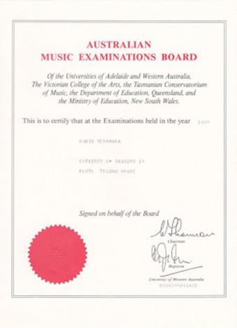 Flute Grade 2 Certificate