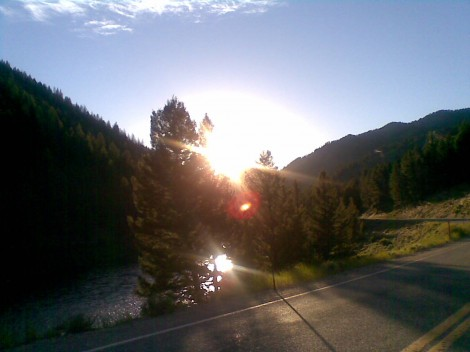 Sun Setting on the Open Road