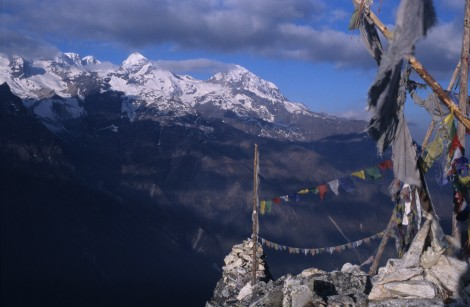 Prayer Flags Atop Langtang Trek Summit